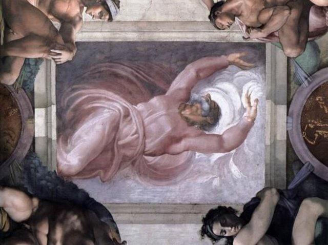 """""""Işığın Karanlıktan Ayrılması"""" Rönesans döneminin ünlü İtalyan ressamı Michelangelo'ın Vatikan'daki Sistine Şapeli'nin fresklerine resmettiği Tanrı figürünün boğaz ve cüppelerinde anatomik organ görüntülerinin yer aldığı düşünülen şaheseri."""