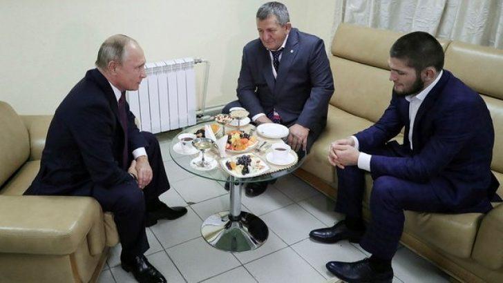 Putin, ringin dışına atlayan dövüşçü Habib Nurmagomedov'la görüştü