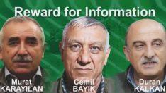 ABD'den üst düzey 3 PKK'lının başına 12 milyon dolar ödül