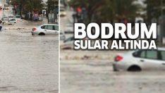 Bodrum'da araçlar suya gömüldü!