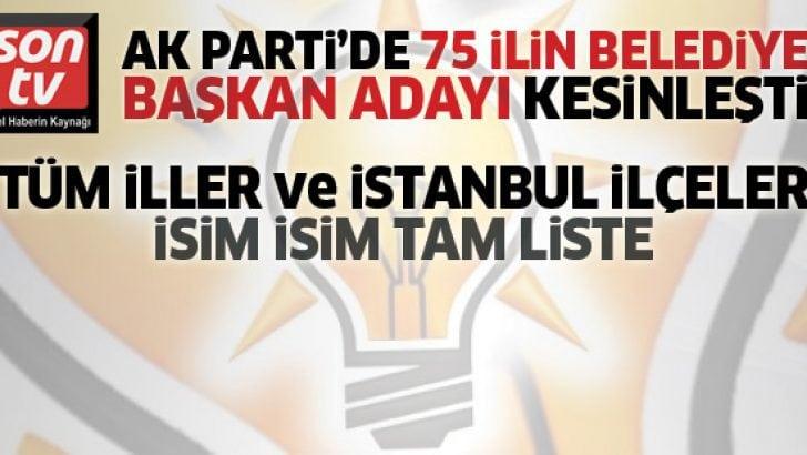AK Parti'de 75 ilin 2019 belediye başkan adayları listesi ve AK Parti İstanbul ilçe belediye başkan adayları (2019 tam liste)
