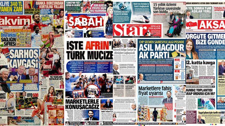 18 Ocak 2019 günün gazete manşetleri