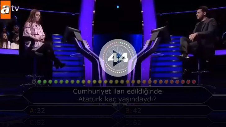 Kim Milyoner Olmak İster'e damga vuran Atatürk sorusu! Yarışmacı ne yapacağını bilemedi