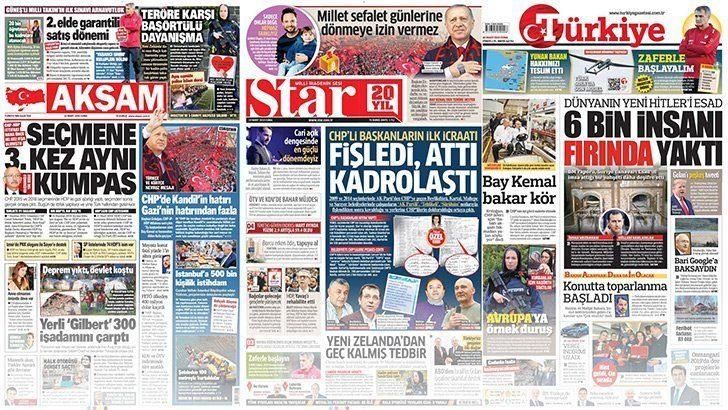 22 Mart 2019 günün gazete manşetleri