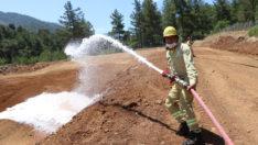 Marmaris'te yangın ekiplerine iş başı eğitimi