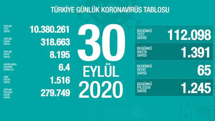 Türkiye'nin son 24 saatlik koronavirüs istatistikleri